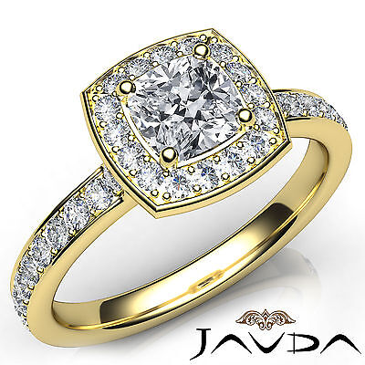Halo Pave Setting Cushion Cut Diamond Engagement Cathedral Ring GIA F VS1 1.17Ct