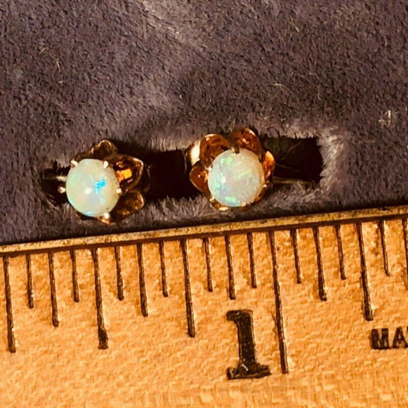 Estate 10 karat  Rose gold and Fire Opal screw back earrings 4 mm wide each