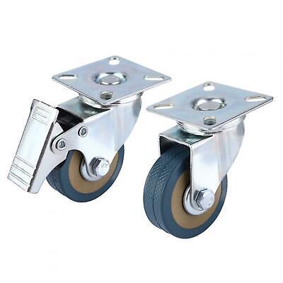 4 Pcs 2 260lb Caster Wheels Swivel Plate Combo2 Brake Wheels 2 Universal Usa