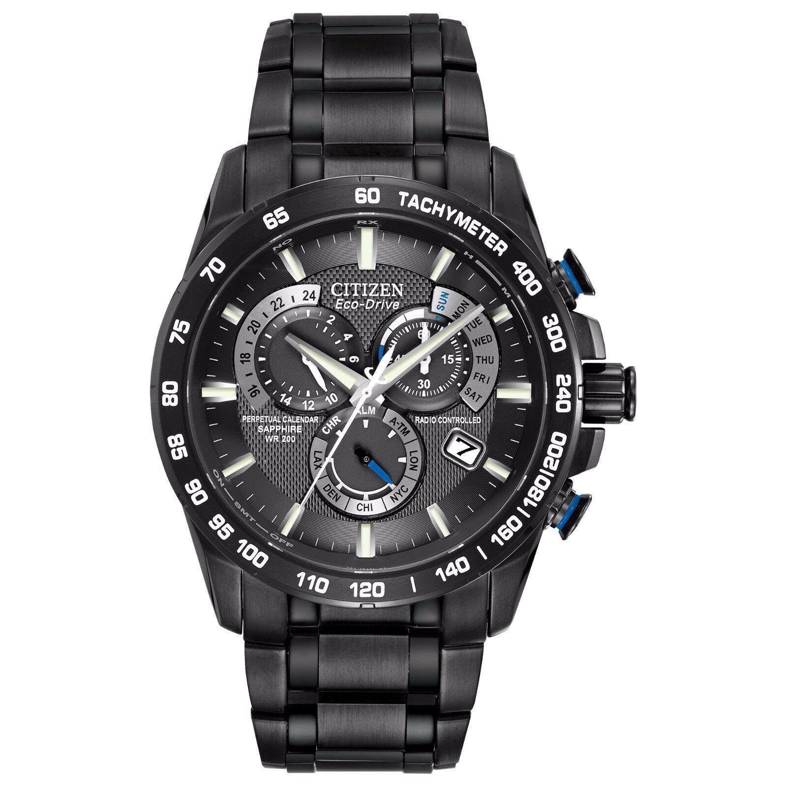 $179.99 - Citizen Eco-Drive Men's AT4007-54E Chronograph Perpetual Calendar 42mm Black