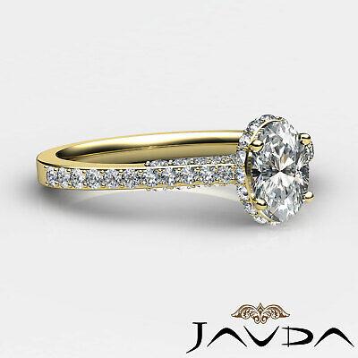 Circa Halo Bridge Accent Oval Diamond Engagement Pave Set Ring GIA F VS1 1.15Ct 9