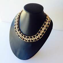 NEW statement fashion necklace black ribbon and clear stone gold Airport West Moonee Valley Preview