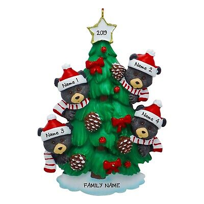Personalized Black Bears In Tree Family of 3 4 5 6 7 Christmas Ornament -