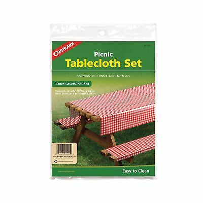 Coghlan's Picnic Tablecloth Set 3-Piece Heavy Vinyl Table Cloth w/Bench Covers](Vinyl Table Covers)