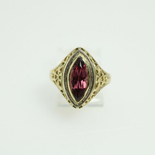 Art Deco Garnet Ring 10k Gold Marquise Cut size 6.25
