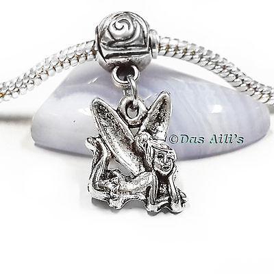 Tinkerbell Heart Charm - 3D Silver Tone Sitting 'tinker bell' Heart Fairy Dangle Charm fits Euro Bracelet
