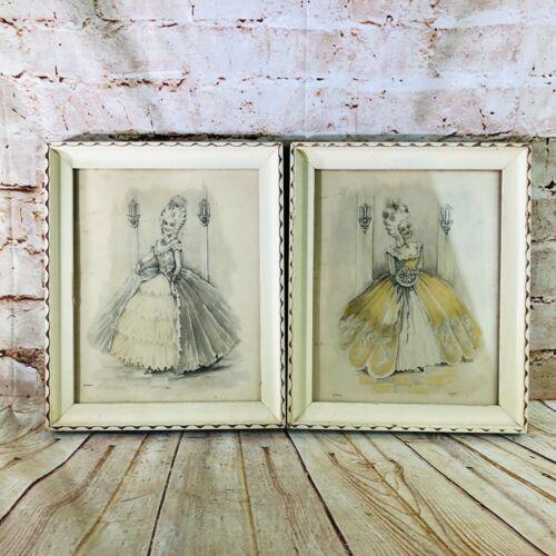 """vtg Marie Antoinette framed pictures 11.5"""" x 9.5"""" underglass"""