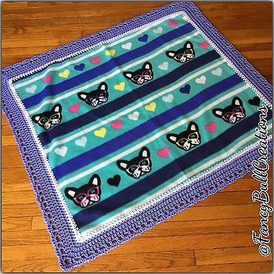 FRENCH BULLDOG Baby Fleece Handmade Crochet Puppy pet Blanket for Dog Bed Gift