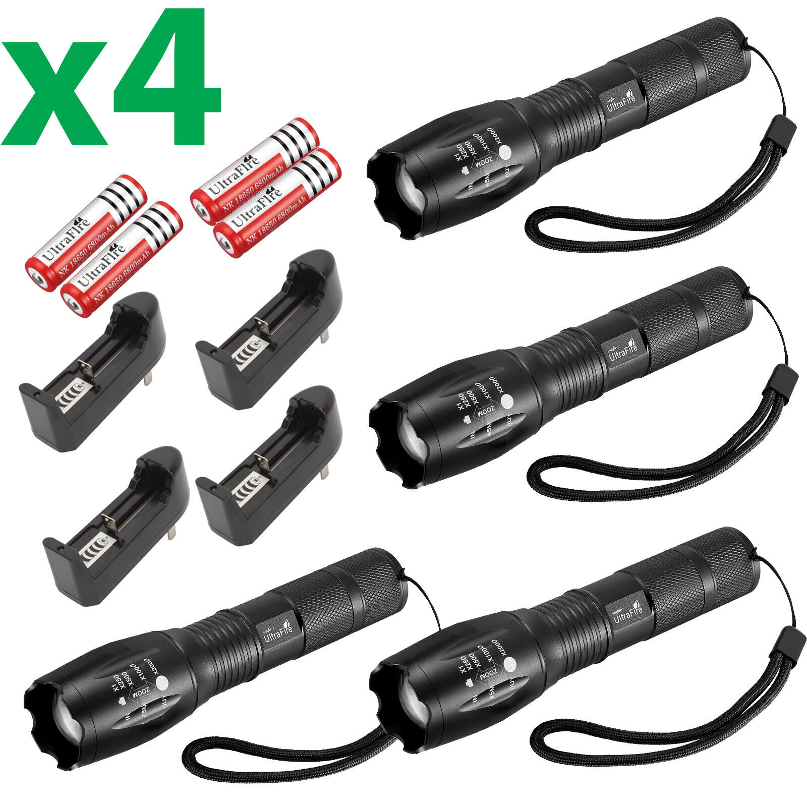 6 X Ultrafire Tactical 15000LM T6 Power LED Zoom Flashlight + 18650&Charger USA 4 Flashlight,4 Battery,4 Charger