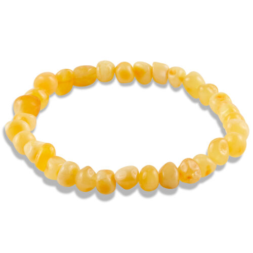 Yellow Baltic Amber Baroque Beaded Stretch Bracelet 7 Inches