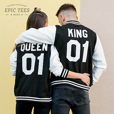 King and Queen 01 Matching Couple College Jacket Letterman Varsity Outfit (King And Queen Outfits)