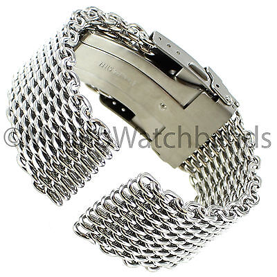22mm Milano Stainless Steel Solid Shark Mesh Push Button Divers Clasp Watch Band ()