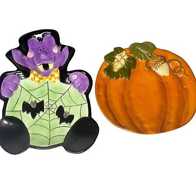 Halloween Ceramic Count Dracula Vampire Cookie Jar Snack Tray And Pumpkin Fall