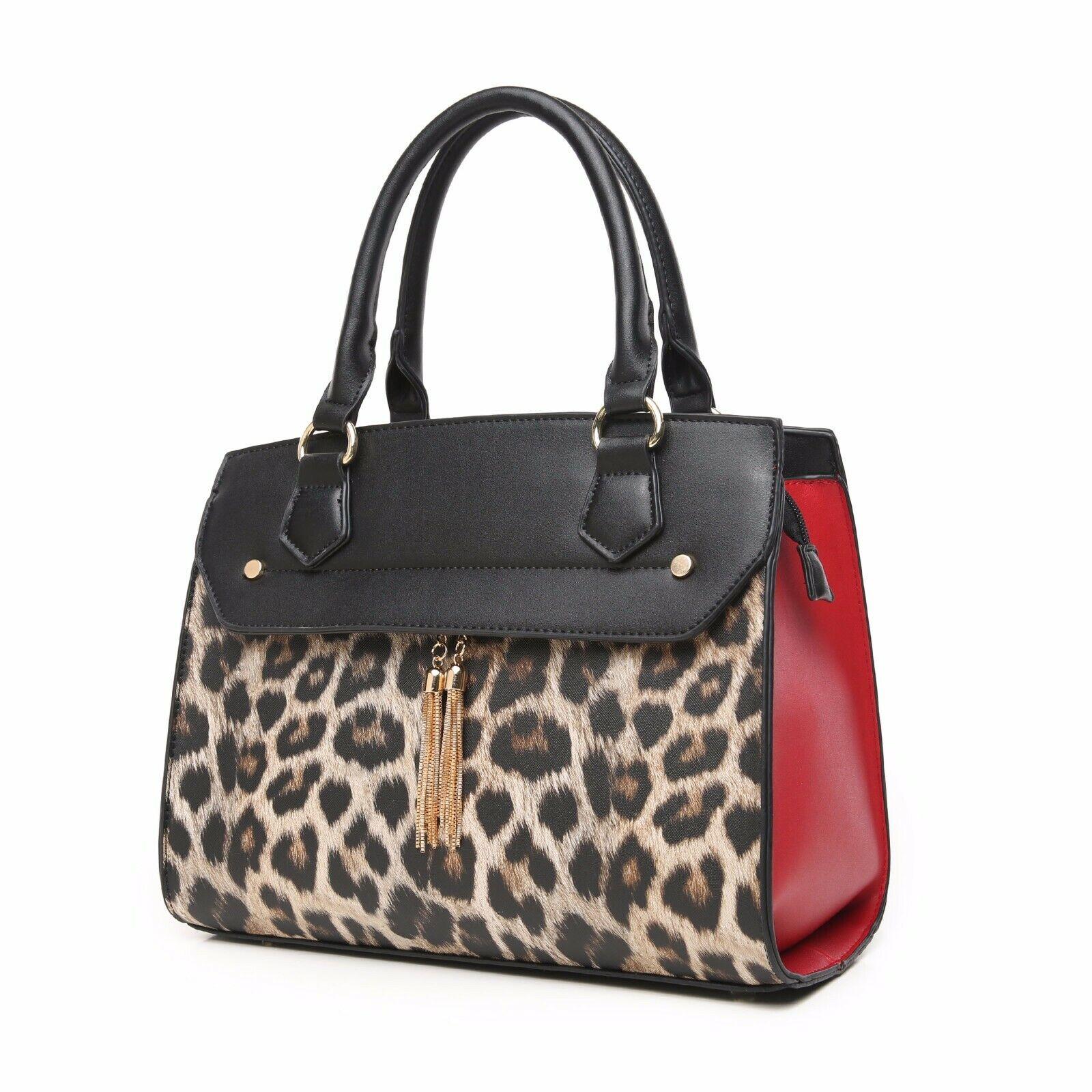 Aitbags Leather Handbag for Women Leopard Print Work Tote Pu