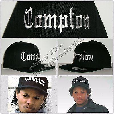 NEW Black Eazy E Compton Snapback Hat Cap NWA Straight Outta Authentic Replica ()
