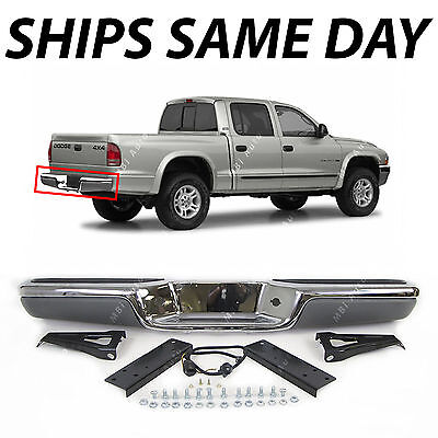 NEW Chrome - Steel Rear Bumper Assembly for 1997-2004 Dodge Dakota W/ Pads 97-04