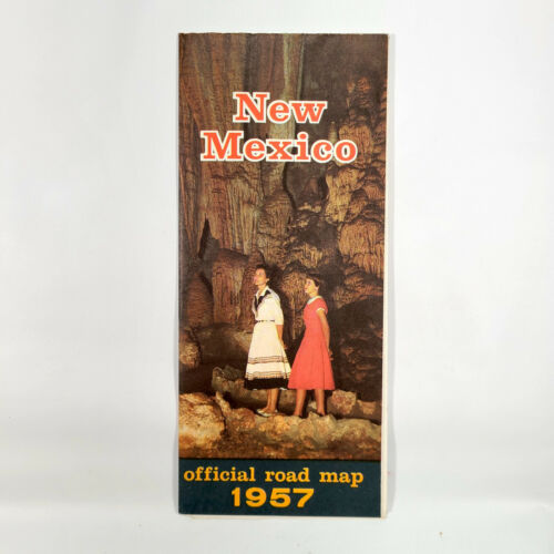 1957 New Mexico Vintage Road Map Travel Highway Carlsbad Caverns NM Vacation