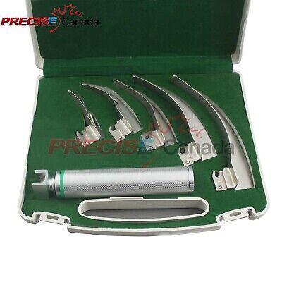 Laryngoscope Fiber Optic Macintosch Set Of 5 Blade Handles Emt