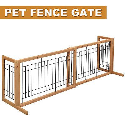 Wood Dog Gate Adjustable Indoor Solid Construction Pet Fence Playpen Free Stand