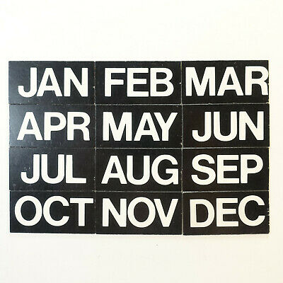 Magnetic Headings Months Of The Year White On Black - Set Of 12 Magnets 1 X 2