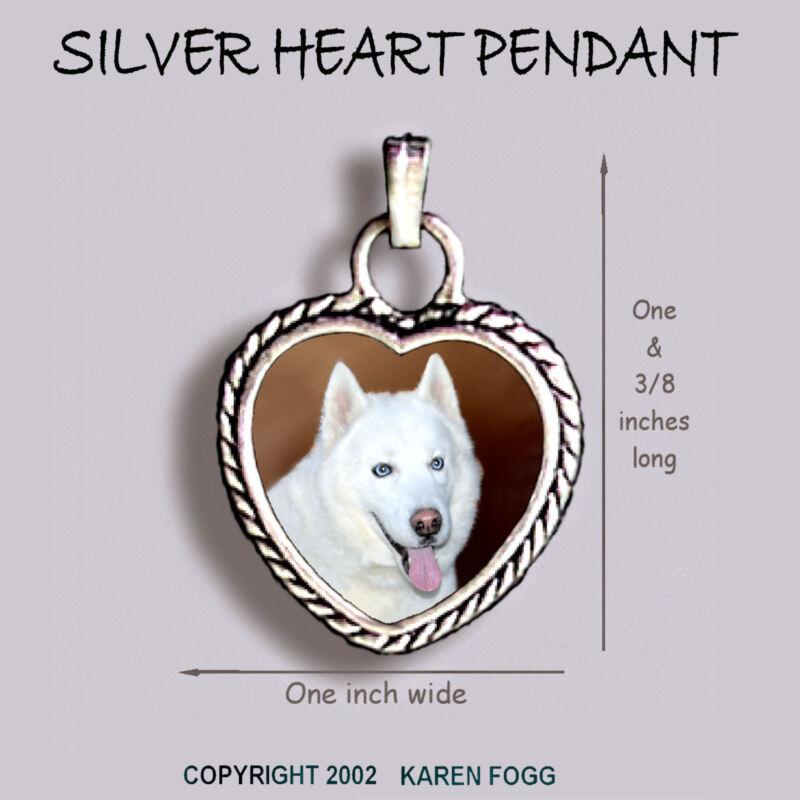 SIBERIAN HUSKY DOG White - Ornate HEART PENDANT Tibetan Silver