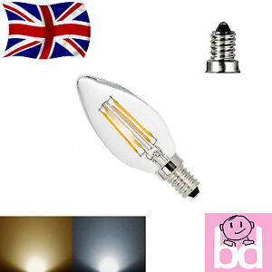 e14 led filament 4w candle light bulb lamp chandelier 4 watt small edison screw ebay. Black Bedroom Furniture Sets. Home Design Ideas