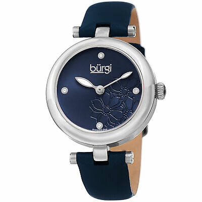 Women Burgi BUR197BU Diamond Marker Flower Dial Blue Silver Leather Strap Watch