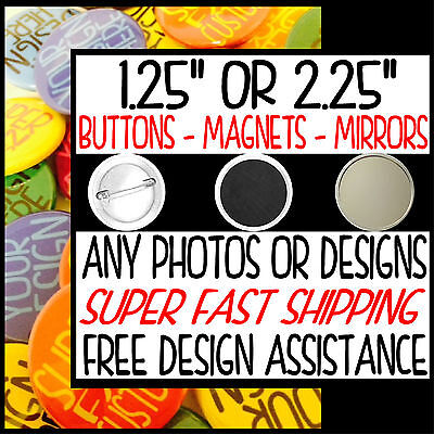 Custom SET OF 2 BUTTONS or MAGNETS or MIRRORS pins your photos pinback badges