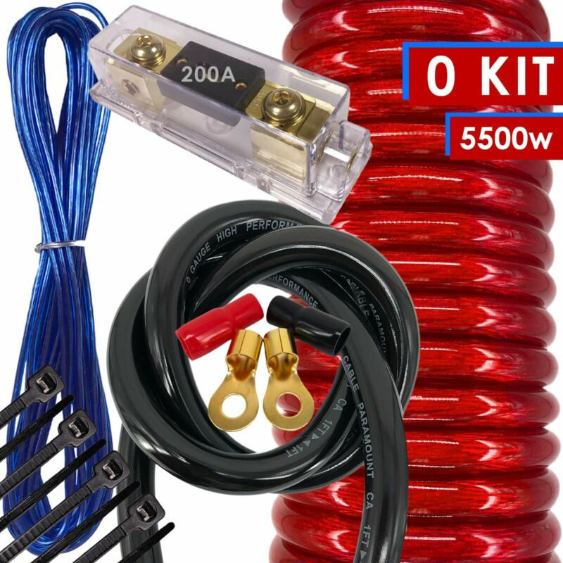 NEW X-Brand 0 Gauge Amp Kit Amplifier Install Wiring HOT 0 Ga Wire RED - 5500W
