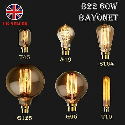Bayonet B22 60W 40W 220V Vintage Antique Retro Light Filament Edison Lamp Bulb