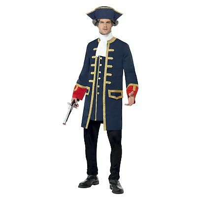 Pirate Commander Ship Admiral Captain Navy Adults Mens Fancy Dress Costume - Mens Pirate Costumes Adults