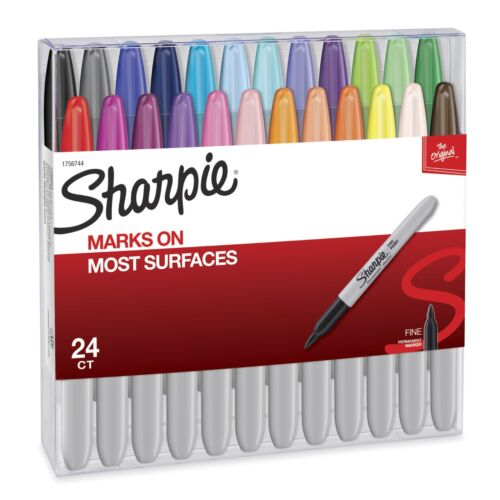 24 SHARPIE PERMANENT MARKERS FINE IN ASSORTED COLORS NEW FREE SHIPPING 1756744