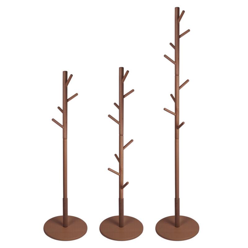 Adjustable Freestanding Wood Coat Rack Hall Tree Hanger with 8Hooks for Hats Bag
