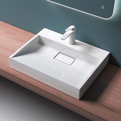 Gussmamor Waschbecken 60x38cm Aufsatzwaschbecken Waschtisch Hängewaschbecken