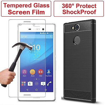 Tempered Glass + 360 Shockproof Armour Case Cover for Sony Xperia XA1 XA2 XZ2
