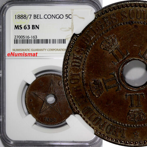 Belgian Congo Free State Leopold II 1888/7 5 Centimes OVERDATE NGC MS63 BN KM# 3