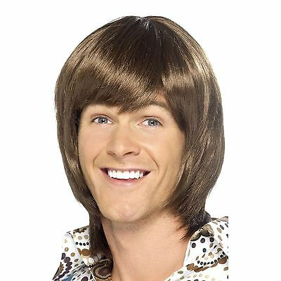 Mens 1970's Heartthrob Brown Disco Retro Wig Fancy - Boogie Nights Kostüme