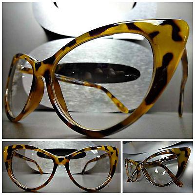 f051994d51 CLASSIC VINTAGE RETRO 60 s CAT EYE Style Clear Lens EYE GLASSES Tortoise  Frame
