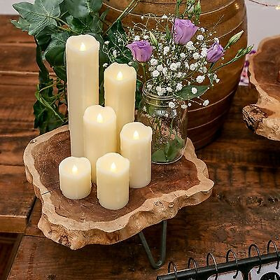 6 BATTERY OPERATED PILLAR WEDDING CENTREPIECE REAL WAX DRIP LED CANDLE LIGHTS