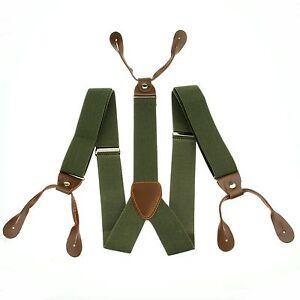 Mens-Adjustable-Button-holes-Unisex-suspenders-Solid-Pickle-Green-Braces-BD703