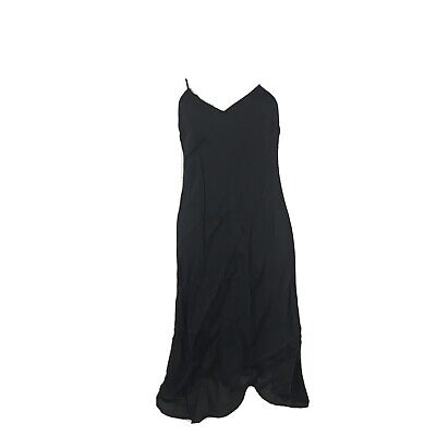 Vintage Dries Van Noten Size 40 Slip Dress Rayon Black Tank V-Neck READ
