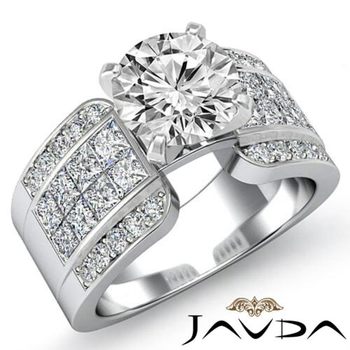 Round Diamond Engagement Invisible Ring GIA F VS2 Clarity 14k White Gold 2.64ct