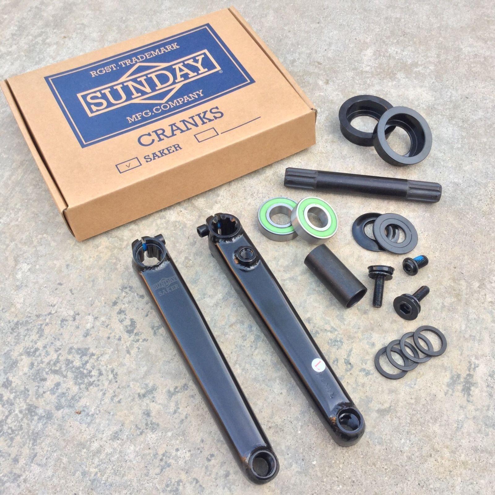 Sunday Saker V2 BMX Bike Cranks Black w Logo 165mm 3 Piece BMX Crankset
