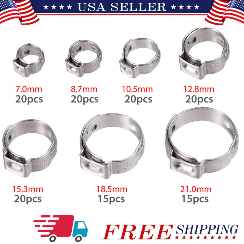 130Pcs 7-21mm 304 Stainless Single Ear Hose Clamps Assortment Cinch Clamp Rings