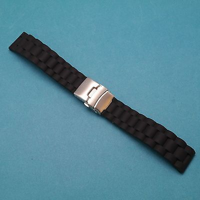 Silicone Link Texture Diver Watch Band Silver Butterfly Deployment Clasp 20/22mm ()