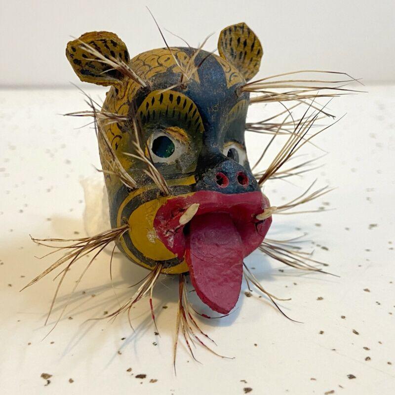 VTG Mexican Folk Art NAHUA JAGUAR/TIGRE Leather Wood Face Miniature MASK.