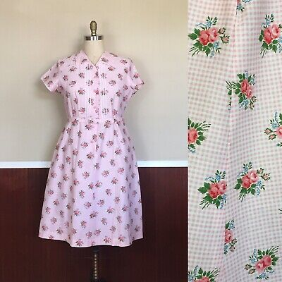 Fifties Dresses Plus Size (Vintage 1950s Plus Size Pink Floral Dress Waist 40)
