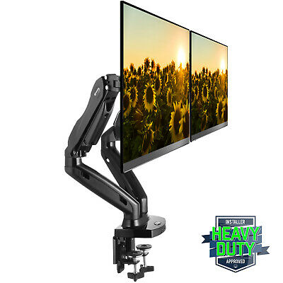 Full Motion Dual LCD Monitor Gas Spring Desk Mount for Screens up to 27