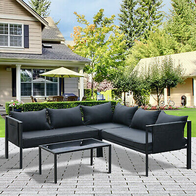 Outsunny 4pcs Patio Lounge Furniture Set Garden Sectional Sofa Set Steel Frame