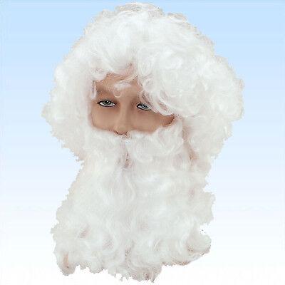 Weiße Kostüm Bart (Weiße Nikolausperücke mit Vollbart für Kostüm Nikolaus Ruprecht Weihnachtsmann)